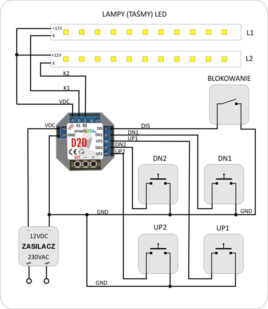 smartLEDs D2D Podstawowy schemat instalacji ze ściemniaczem
