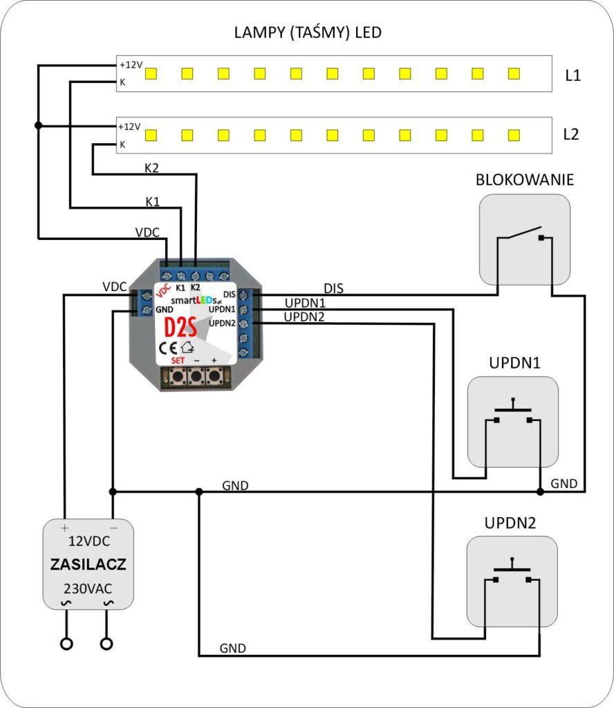 smartLEDs D2S Podstawowy schemat instalacji ze ściemniaczem
