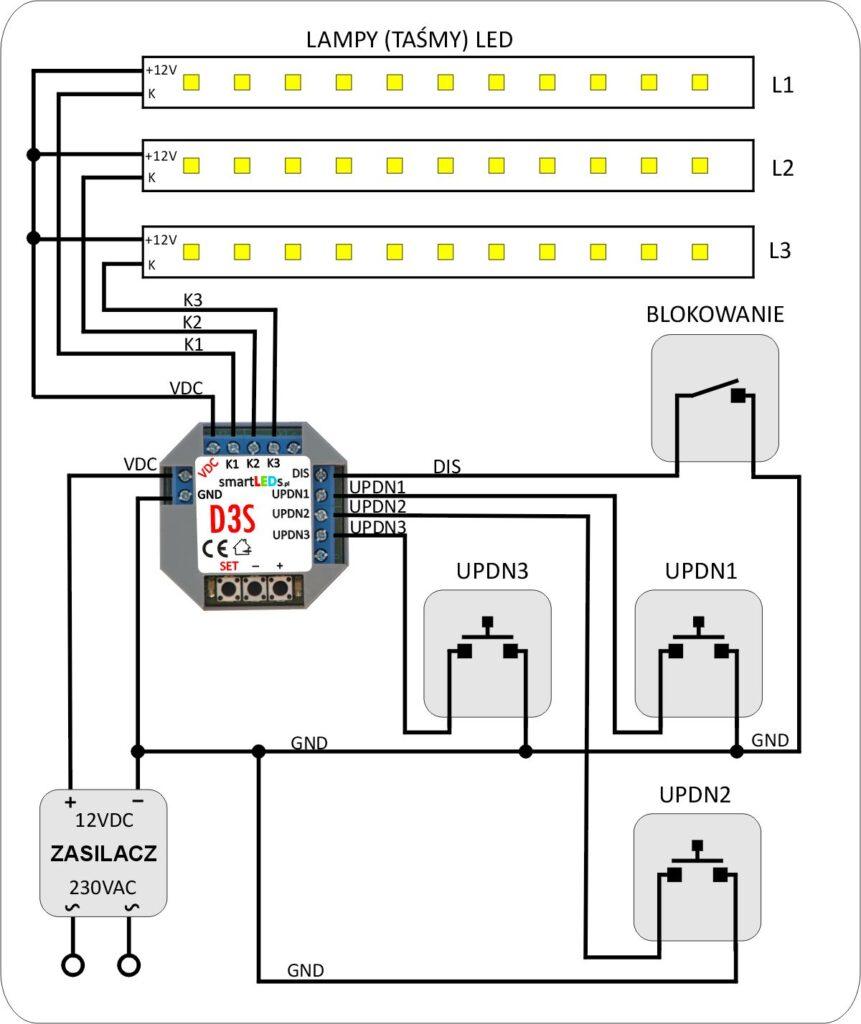 smartLEDs D3S Podstawowy schemat instalacji ze ściemniaczem