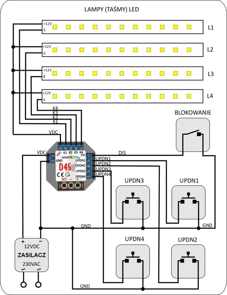 smartLEDs D4S Schemat instalacji ze ściemniaczem