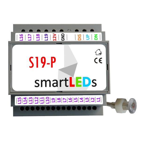 Inteligentny sterownik oświetlenia LED schodów smartLEDs S19-P (PREMIUM) z wyłącznikiem zmierzchowym)