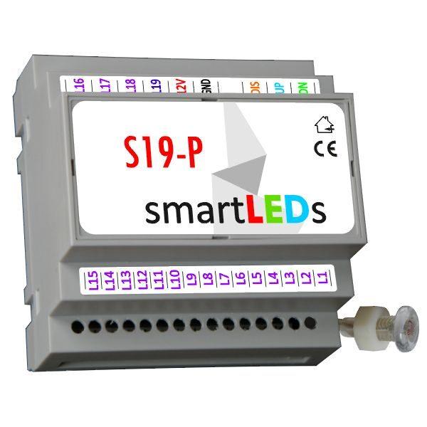S19-P smartLEDs - Inteligentny sterownik schodowy LED typu Fala LED model PREMIUM z wyłącznikiem zmierzchowym i sondą światła