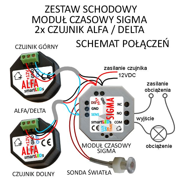 Zestaw Schodowy Uniwersalny Moduł Czasowy Sigma 2 Czujniki Ruchu Alfa