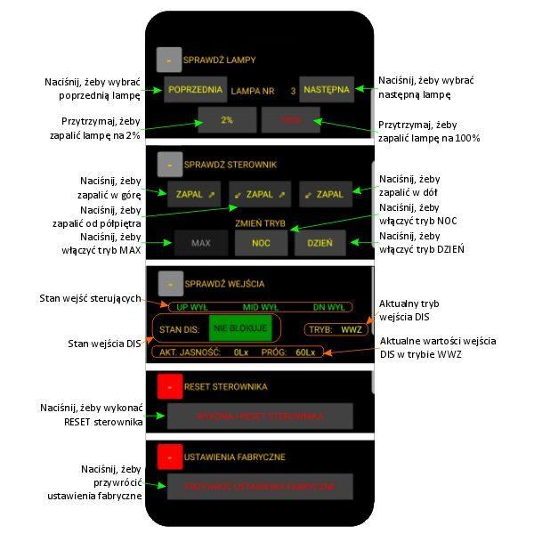 Ekran SERWIS aplikacji sterownika schodowego LED smartLEDs OMEGA