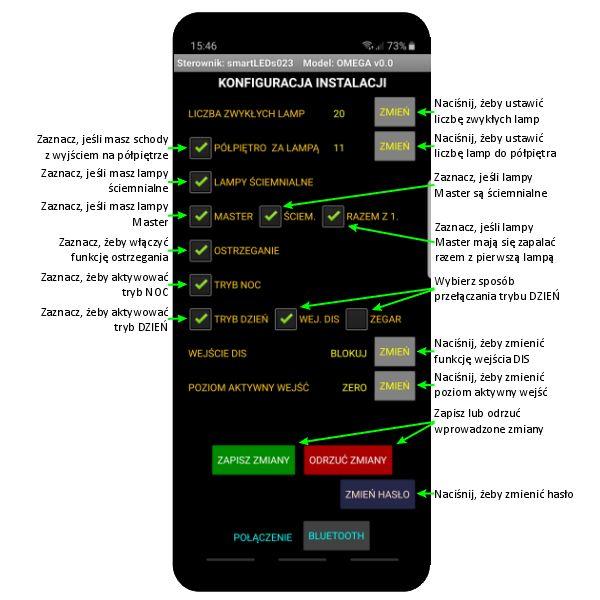 Ekran KONFIGURACJA STEROWNIKA aplikacji sterownika schodowego LED smartLEDs OMEGA