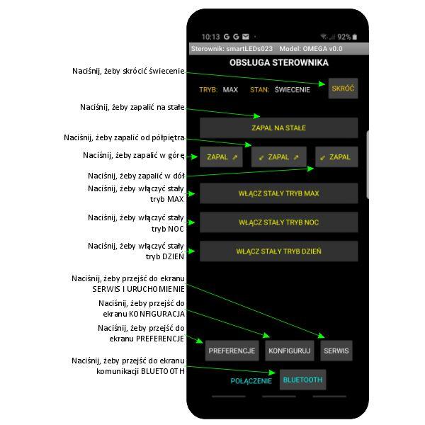 Ekran OBSLUGA STEROWNIKA aplikacji sterownika schodowego LED smartLEDs OMEGA
