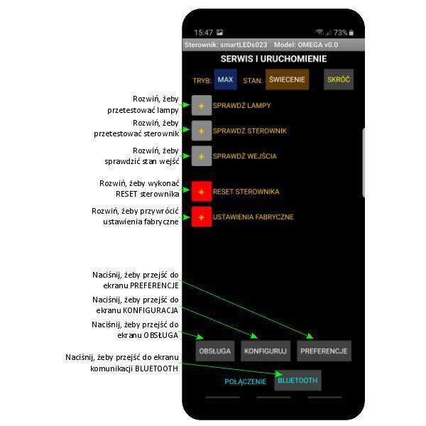 Ekran SERWIS I URUCHOMIENIE aplikacji sterownika schodowego LED smartLEDs OMEGA