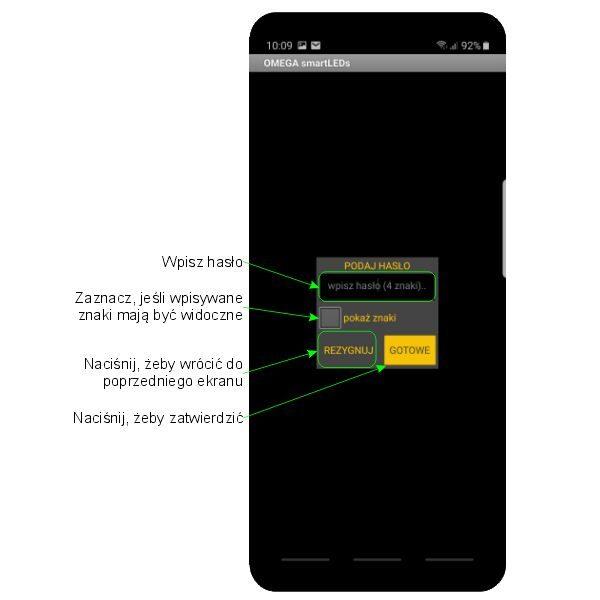 Ekran PODAJ HASŁO aplikacji sterownika schodowego LED smartLEDs OMEGA