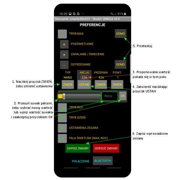 Ekran PREFERENCJE aplikacji smartLEDs OMEGA - Sterownik schodowy LED smartfon