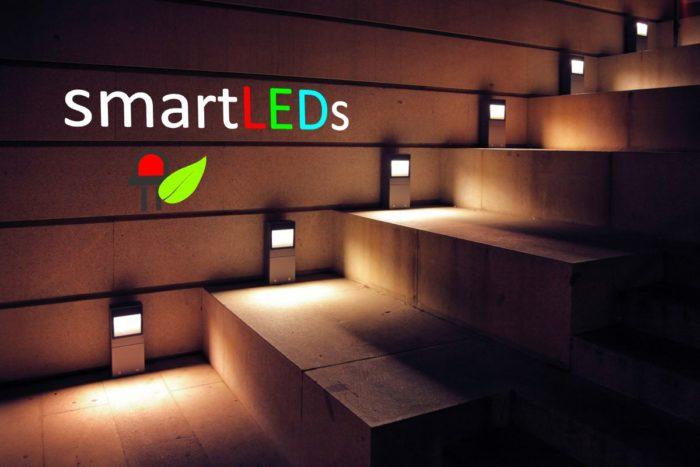 Eleganckie oświetlenie schodowe LED. Boczne podświetlenie lampami LED. Sterowniki oświetlenia schodów smartLEDs.