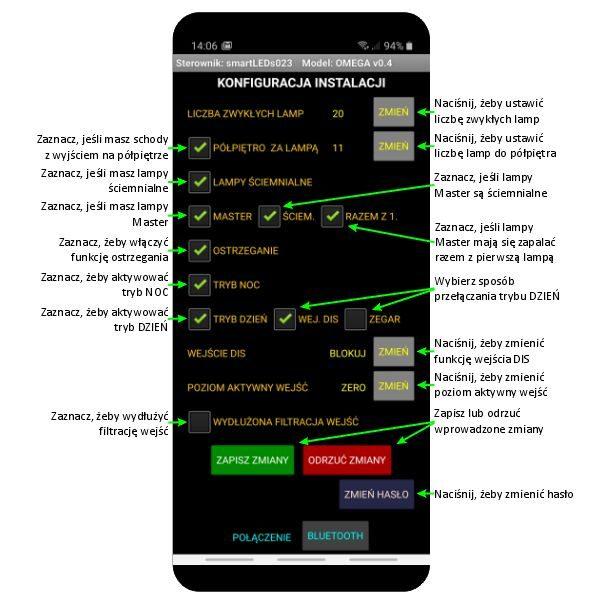 Ekran KONFIGURACJA INSTALACJI aplikacji smartLEDs OMEGA - Sterownik schodowy LED smartfon Bluetooth