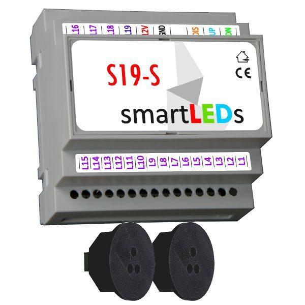 Sterownik oświetlenia schodów 19 LED (model Standard) z 2 czujnikami ruchu (czarne, okrągłe) - Oświetlenie LED schodów z czujnikiem ruchu