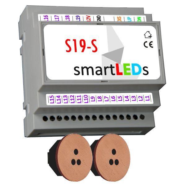 Sterownik oświetlenia schodów 19 LED (model Standard) z 2 czujnikami ruchu (brązowe, okrągłe) - Oświetlenie LED schodów z czujnikiem ruchu