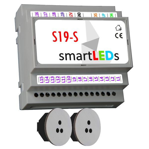Sterownik oświetlenia schodów 19 LED (model Standard) z 2 czujnikami ruchu (szare, okrągłe) - Oświetlenie LED schodów z czujnikiem ruchu
