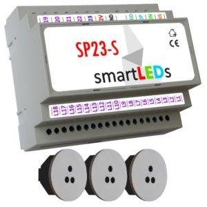 Sterownik schodowy 23 LED z 3 czujnikami ruchu (szare, okrągłe) - podświetlenie schodów z półpiętrem z czujnikami ruchu