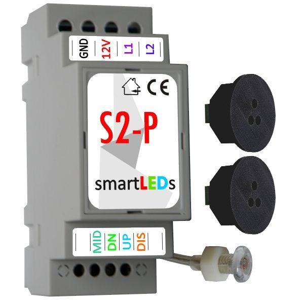 Sterownik schodowy LED (model Premium) z 2 czujnikami ruchu (czarne, okrągłe) - Podświetlane schody z czujnikiem ruchu