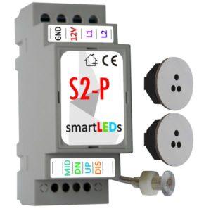 Sterownik schodowy LED (model Premium) z 2 czujnikami ruchu (szare, okrągłe) - Podświetlane schody z czujnikiem ruchu