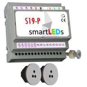 Sterownik oświetlenia schodów 19 LED z 2 czujnikami ruchu (szare, okrągłe) - Podświetlenie schodów LED z czujnikiem ruchu