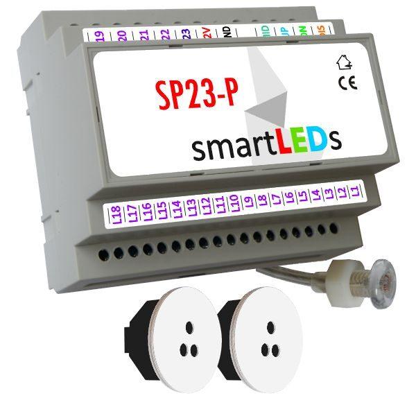 Sterownik schodowy SP23-P z czujnikiem zmierzchu + 2 optyczne czujniki ruchu (białe okrągłe) - Schody podświetlane taśmą LED