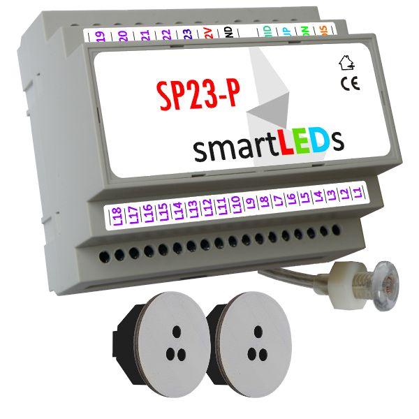 Sterownik schodowy SP23-P z czujnikiem zmierzchu + 2 optyczne czujniki ruchu (szare okrągłe) - Schody podświetlane taśmą LED