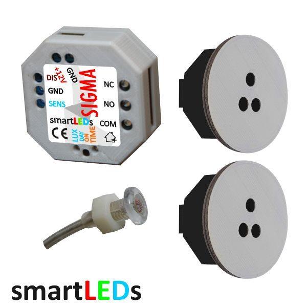 Schodowy zestaw sterujący smartLEDs: Moduł czasowy z wyjściem przekaźnikowym + Sonda światła + 2 czujniki ruchu ALFA 100cm