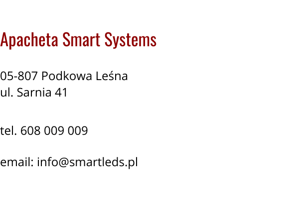 Wizytówka Apacheta Smart Systems