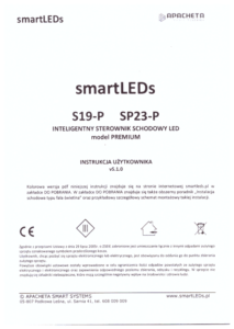 Instrukcja użytkownika - Inteligentny sterownik schodowy oświetlenia LED typu Fala świetlna - smartLEDs S19-P i SP23-P