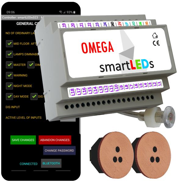 """Zestaw schodowy do oświetlenia LED """"Inteligentne schody z aplikacją na smartfon"""". Sterownik schodowy smartLEDs OMEGA z czujnikiem zmierzchu + 2 schodowe czujniki ruchu ALFA (brązowe okrągłe)."""